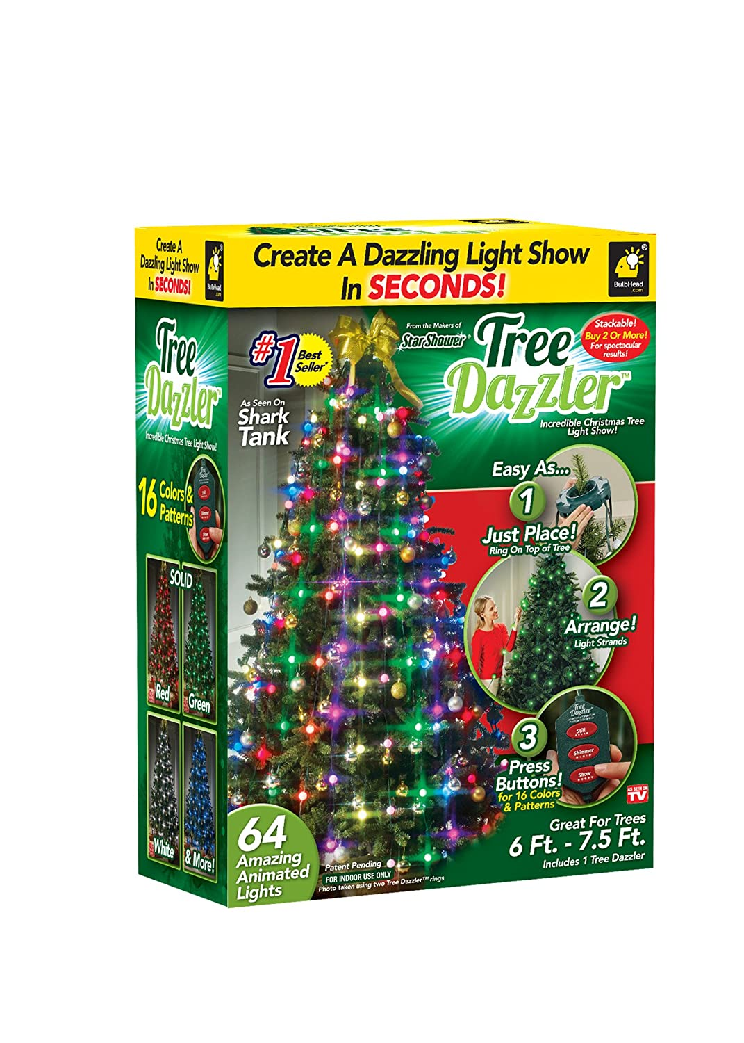 amazoncom star shower tree dazzler led christmas lights by bulbhead indoor color changing led light show for the xmas tree 16 light patterns green - Craigslist Outdoor Christmas Decorations