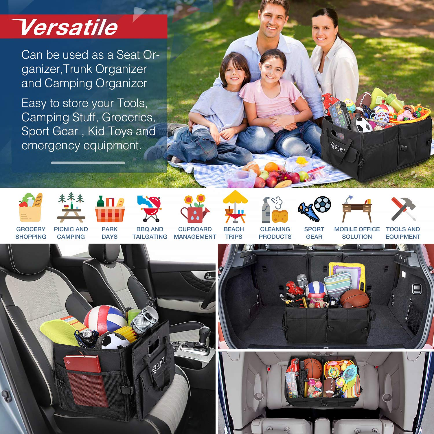 Upgraded Trunk Organizer for Car Heavy Duty Collapsible Portable Truck Bed Organizer with 4 Wider & Longer Non-Slip Bottom Strips to Prevent Sliding Bonus 1 Portable Toolkit by tomser (Image #7)