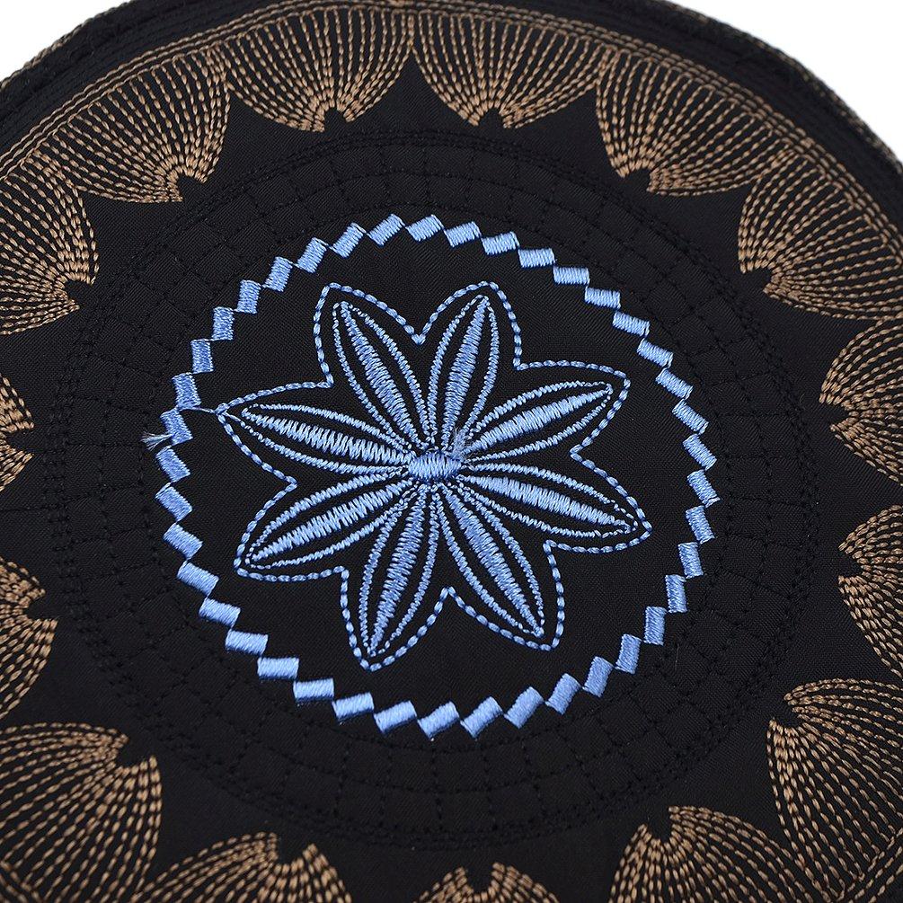 Hongma Islamic Muslim Hat Skull Cap Kufi Hat Turkish Skull Cap Prayer Namaz Beanie Embroidery Hat for Men