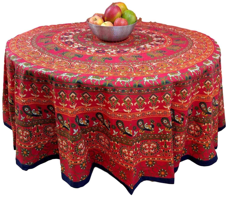 Handmade 100/% Cotton Elephant Mandala Floral 81 Round Tablecloth Red Blue Green Saffron