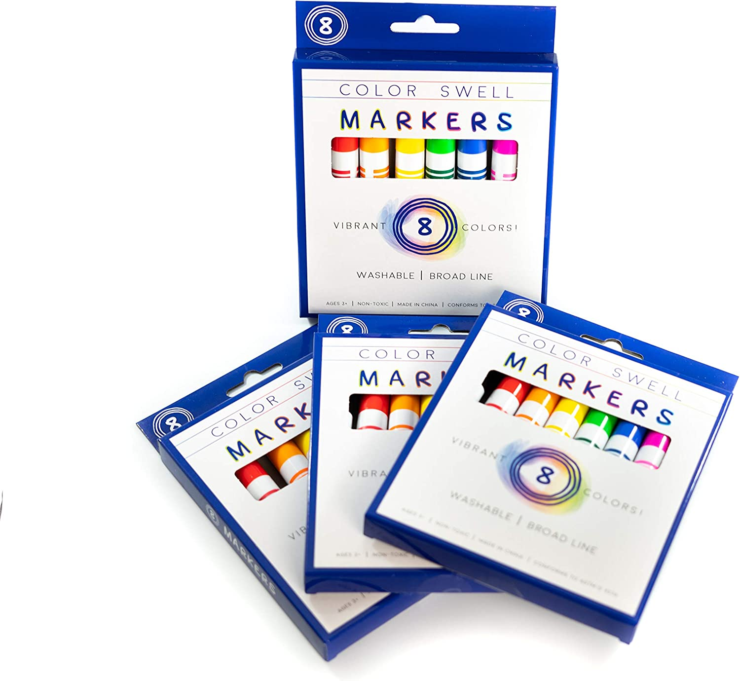 Parties Teachers and Families Adults Color Swell Washable Markers Bulk 4 Pack 8 Vibrant Colors for Kids