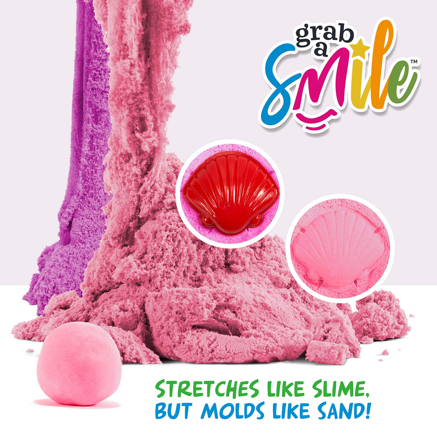 1.1 Lbs Non-Sticky Pink Glitter GRAB A SMILE Stretchy Sand Sensory Toy Non-Drying Non-Toxic Reusable Slime with a Smooth Sandy Texture for Tactile Input
