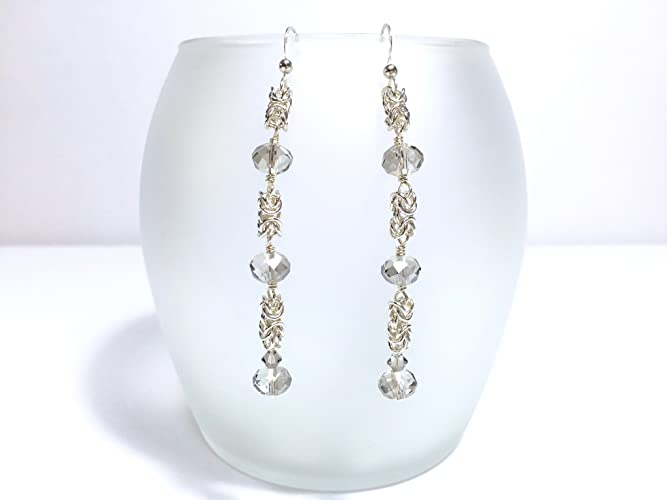 Amazon com: Silver Byzantine Chainmaille Beaded Earrings