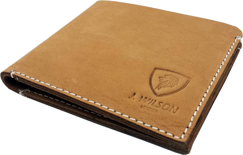 Diseñador J WILSON London Real cuero Mens Cartera Credit Carder titular Bifold delgado crudo aceitado Hunter bolso con caja de regalo