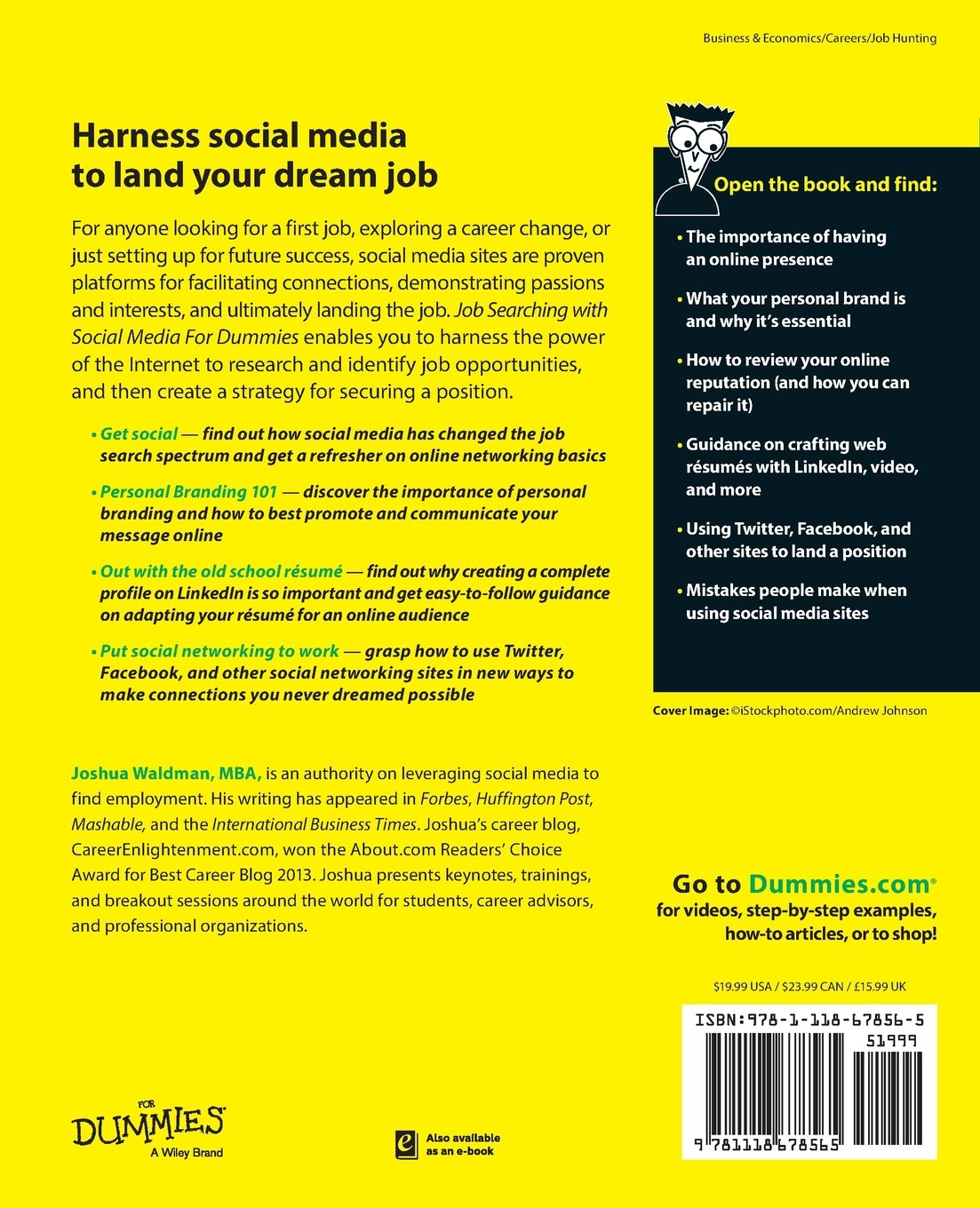 job searching social media for dummies joshua waldman job searching social media for dummies joshua waldman 9781118678565 com books