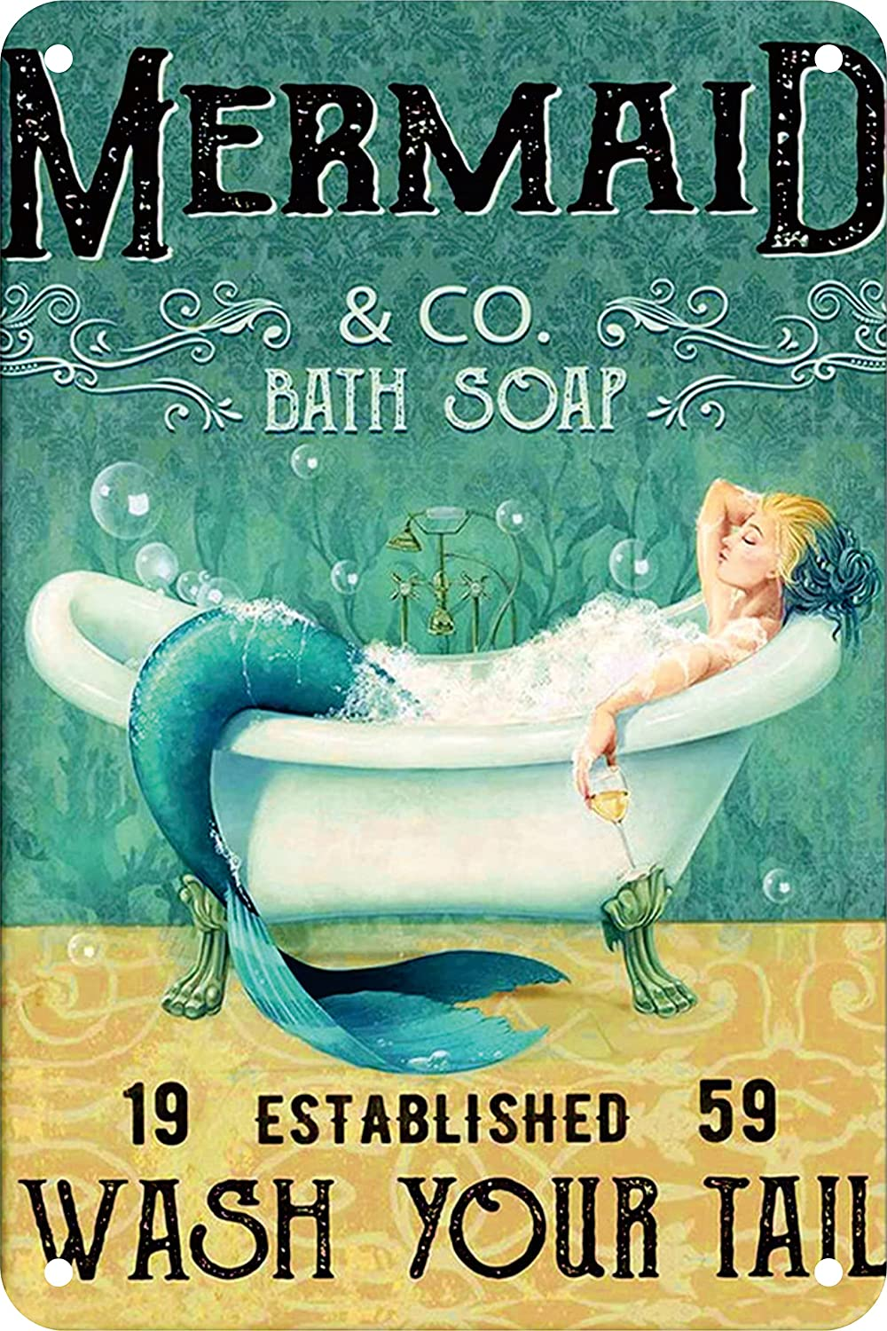 Mermaid Decor Gifts Funny Bathroom Decor Wall Art Coffee Bar Vintage Metal Tin Sign - Wash Your Tail - Office Home Toilet Signs Wall Decor Pictures 8 X 12 Inch