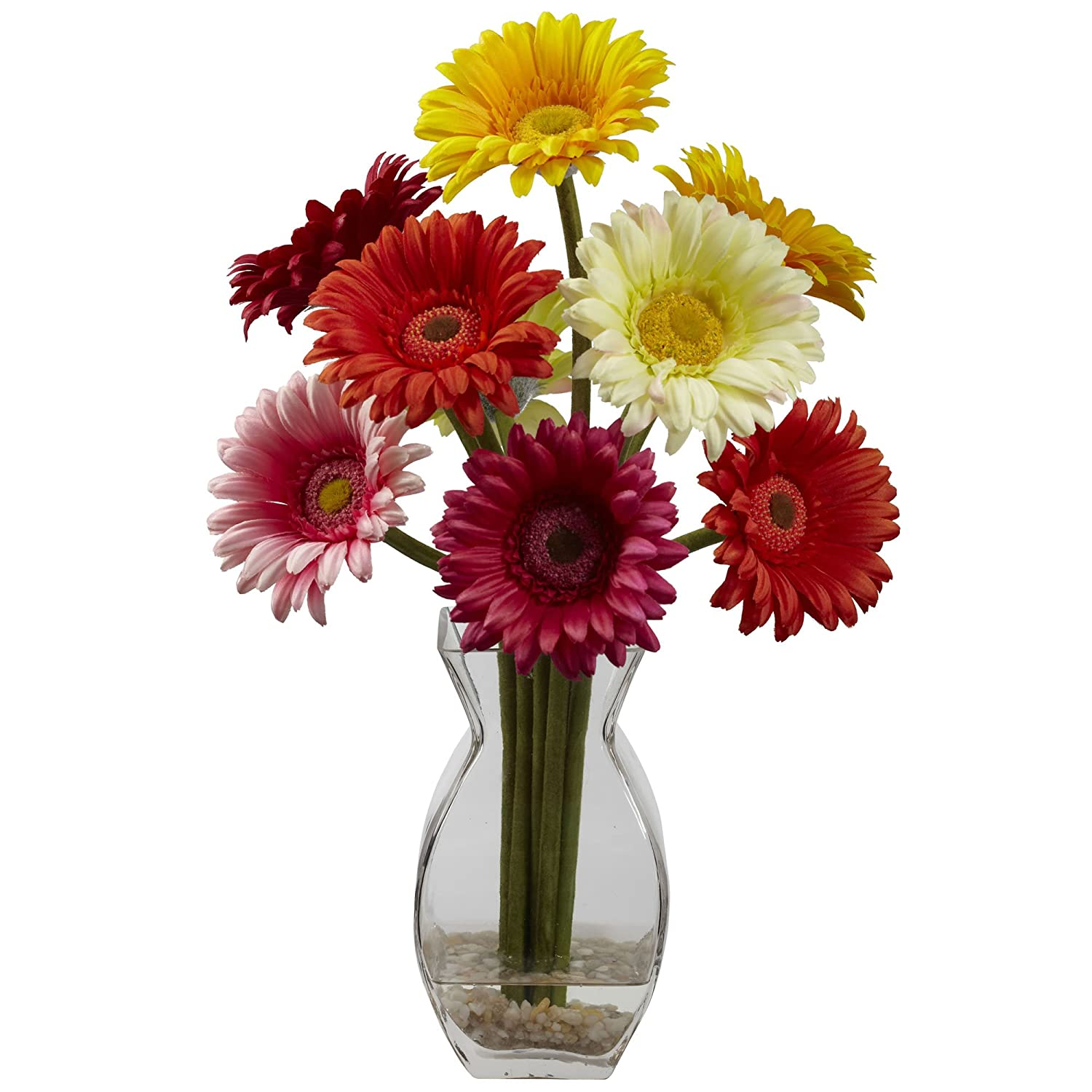 Nearly Natural 1297-AS Gerber Daisy with Vase Arrangement, Assorted