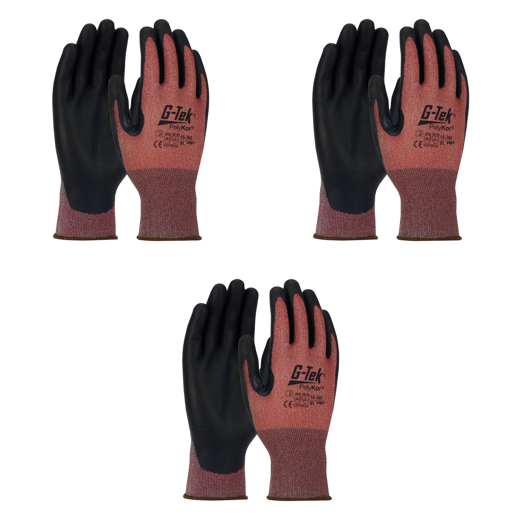 PIP G-TEK X7 16-368 NeoFoam Coated Cut Resistant A3 Touch Screen Work Glove, Seamless Knit PolyKor Blended Gloves (3 Pair pack) (Medium)