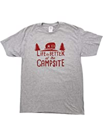 """Camco """"Life is Better at The Campsite"""" Crew Neck Short-Sleeve T-Shirt (Heather Gray, X-Large) (53210)"""