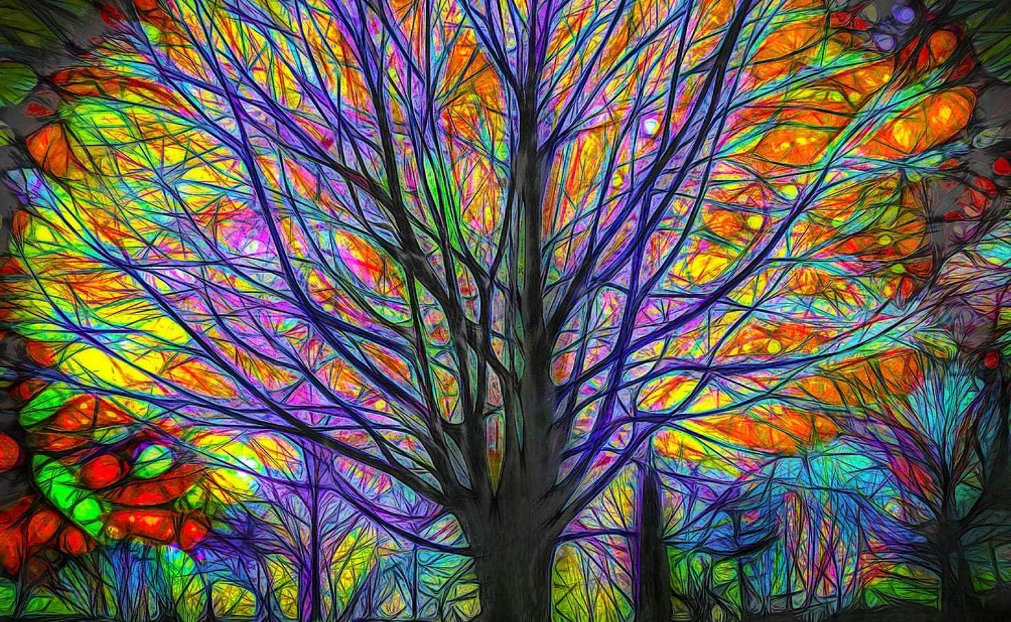 YDPTYANG Kinder Puzzle 500 St/ück Abstrakter bunter Baum Erwachsene H/ölzernes Puzzle Spiels Spielzeug Puzzles