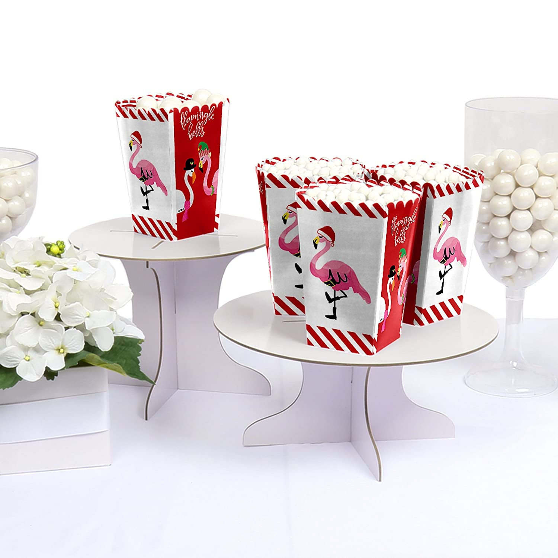 Set of 12 Flamingle Bells Tropical Flamingo Christmas Party Favor Popcorn Treat Boxes