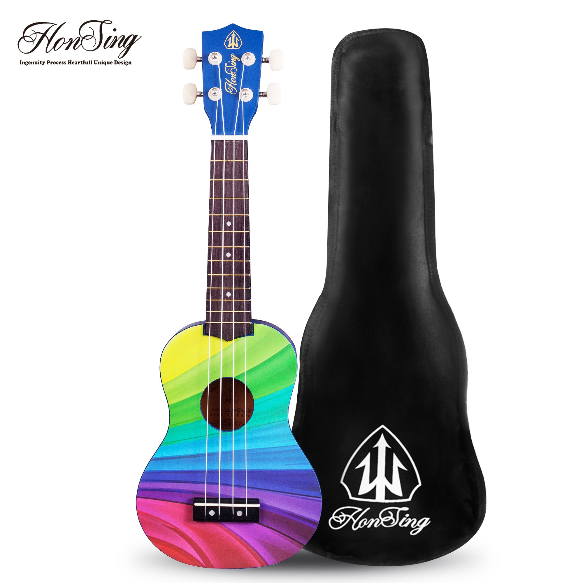 Honsing Soprano Rainbow Ukulele Beginner Hawaii kids Guitar Uke Basswood 21 inches with Gig Bag- Rainbow Stripes Color matte finish
