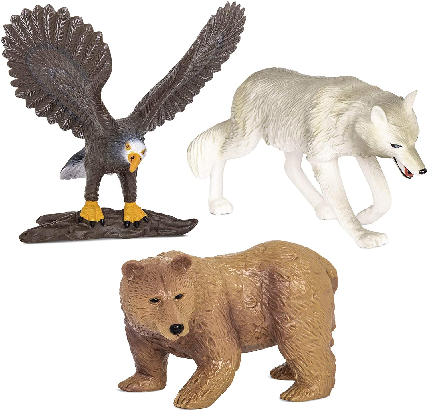 Terra by Battat – Forest Animals – Miniature Wolf & Toy Animals for Kids 3-Years-Old & Up (3 Pc), Multi, Model:AN2807Z