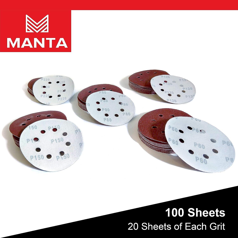Manta 8-hole 5-in Hook and Loop Sanding Discs for Random Orbit Sanders with 60//80//120//150//220 Grit Assortment 100ct Multi-Pack