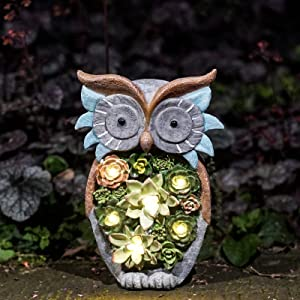 Garden Statue Owl Figurine - Solar Powered Resin Sculpture Animal Featuring Succulent Plants with LED Lights for Patio Lawn Yard Art Ornaments,Indoor Outdoor Season Gifts Decorations, 10 x 6 Inch