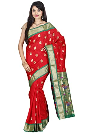 4a80db30be238c Indian Silks Peacock Design Women's Paithani Handloom Pure Silk Saree, With  Unstitched Blouse Piece(
