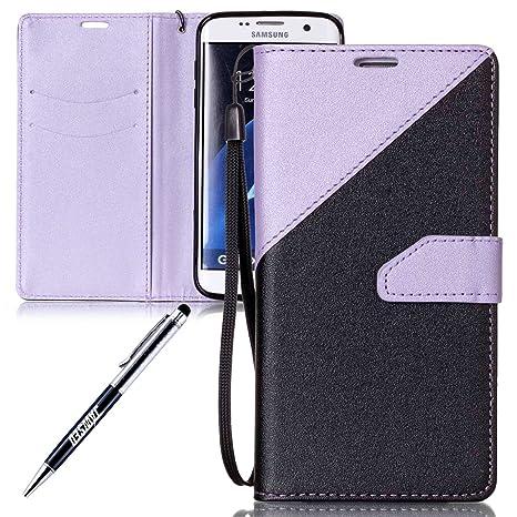 Funda Samsung Galaxy S7 Edge, Carcasa Cuero Samsung Galaxy S7 Edge, JAWSEU Samsung Galaxy S7 Edge G935 Tapa Trasera Carcasa Color de Contraste Diseño ...