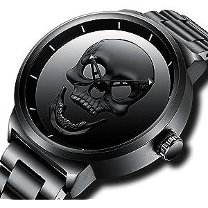 2392041018e Mens Black Watches Men Waterproof Unique Design Cool Wrist Watch Stainless  Steel Mesh Watch for Men