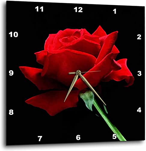 3dRose DPP_3651_3 Red Rose Wall Clock, 15 by 15-Inch