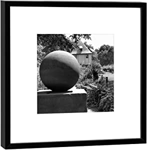 COGNOSCO Photography in Wooden Frame: Stone of Good Luck Goethes Garden House Photo Print – Format 27 x 27 cm – Frame Colour Black – Wall Picture Gift Idea or Souvenir from Weimar Wood White Frame