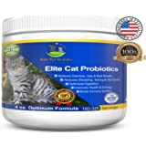 Probiotic Supplement for Cats Elite Cat Probiotics Powder by Elite Pet Nutrition - Veterinarian Recommended - Eliminates Diarrhea, Gas, All Natural Non GMO & Gluten Free -Made in the USA 4 oz