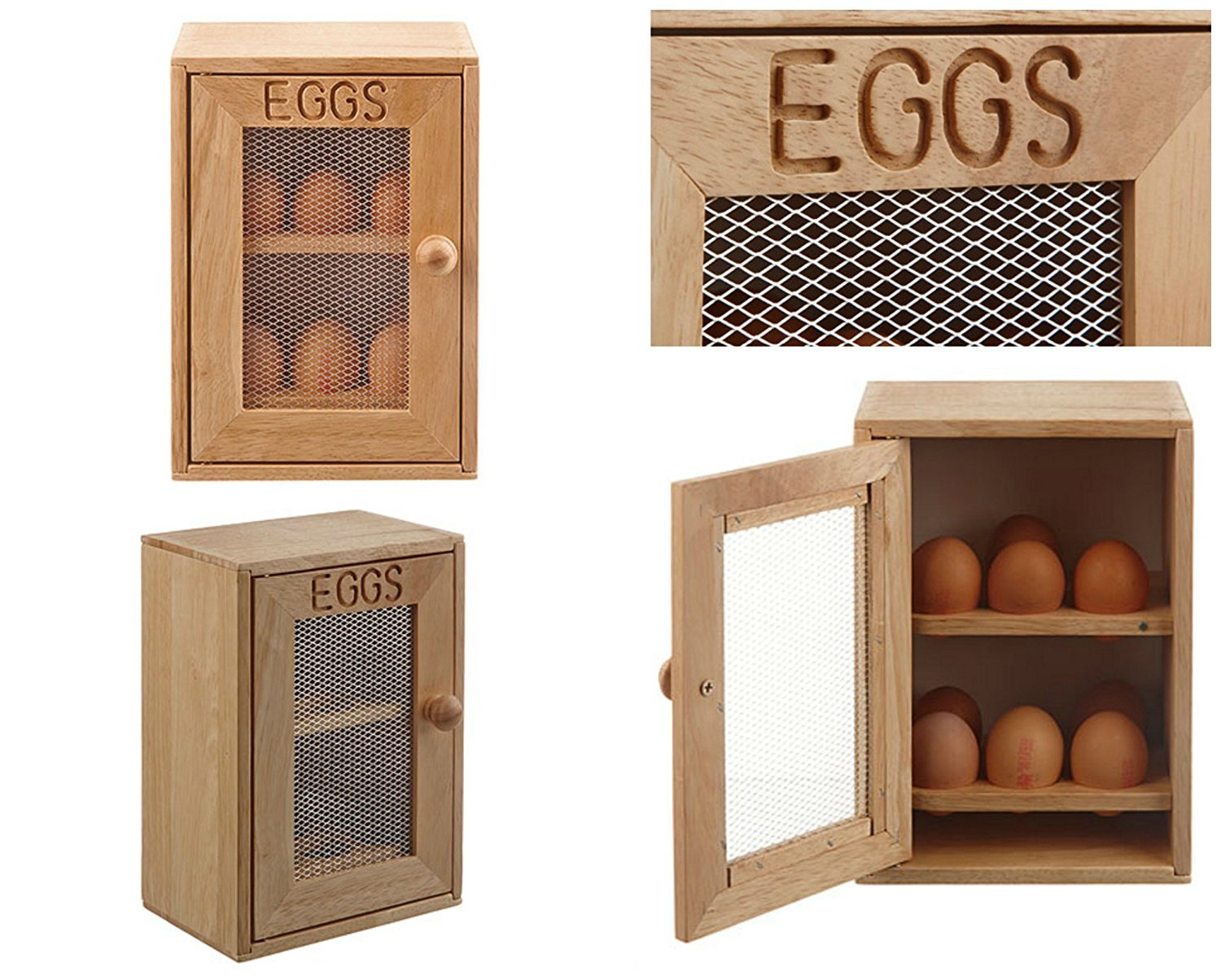 Homezone® Rustic Shabby Chic Wooden 2 Tier Egg Storage Rack Cabinet, Novelty