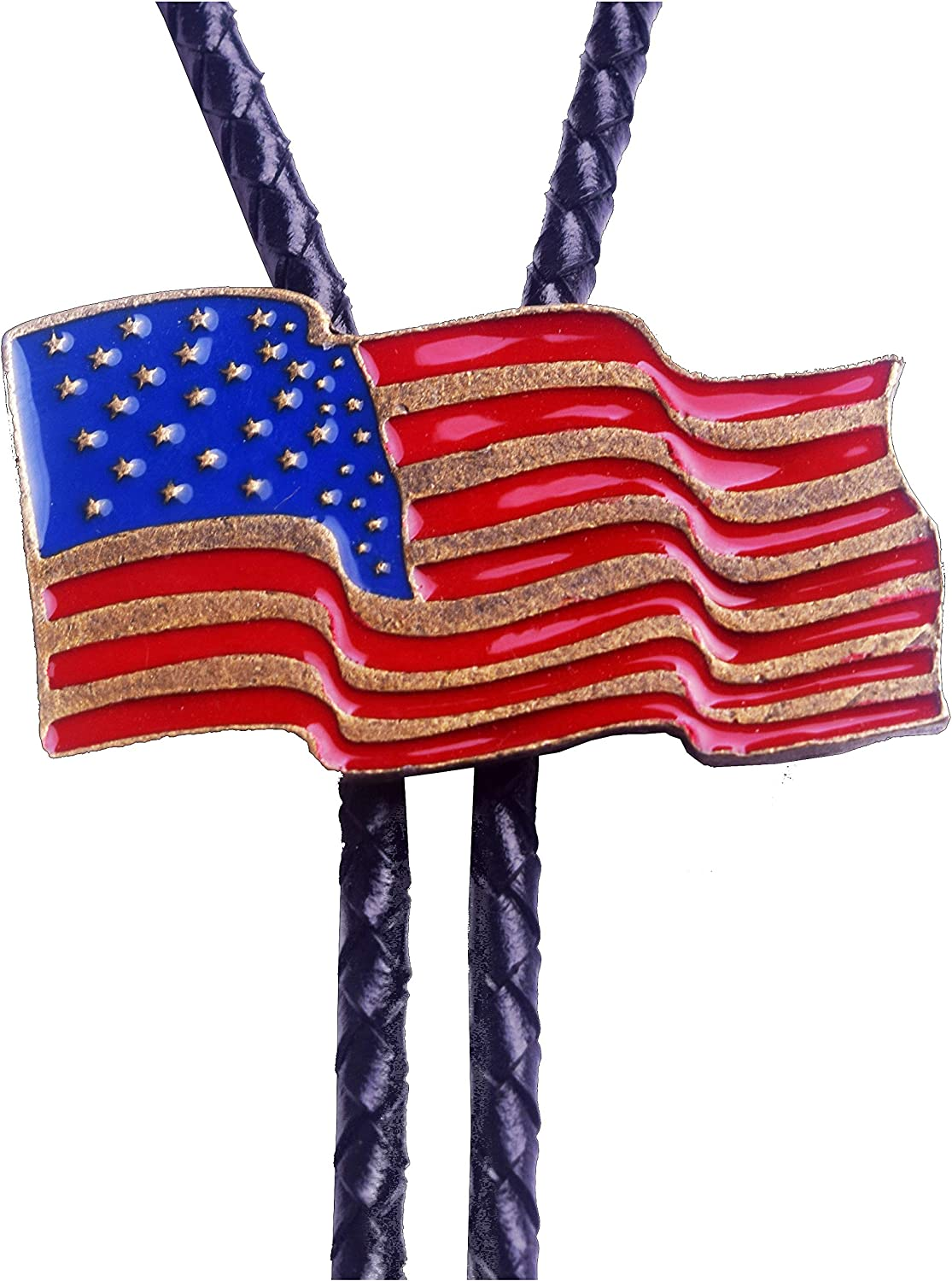 Moranse Bolo Tie with Fluttering American Flag Patriot Style Genuine and Cowhide Rope