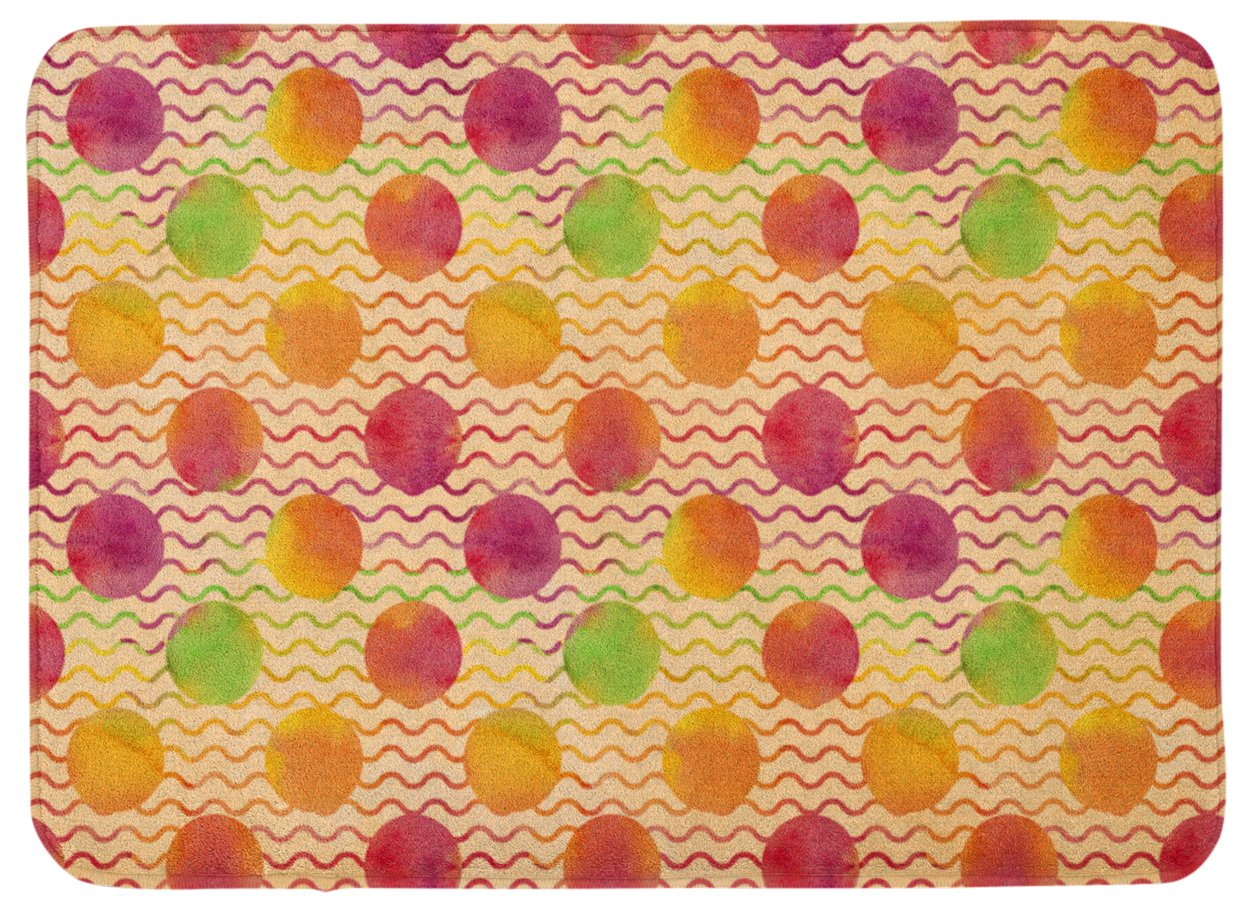 Carolines Treasures Watercolor Rainbow Dots and Squiggles Floor Mat 19 H x 27 W Multicolor