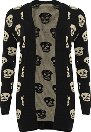 Papermoon Womens Knit Skull Pattern Open Cardigan At Amazon Womens