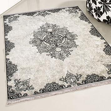 Amazon.de: mynes Home Teppich schwarz Waschbar Shabby Chic ...