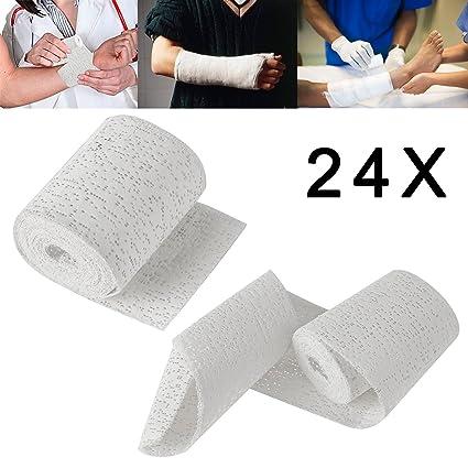 Forever Speed 24 Rollos Vendaje de yeso Médico Protectores de escayola Blanco (10cm x 3m