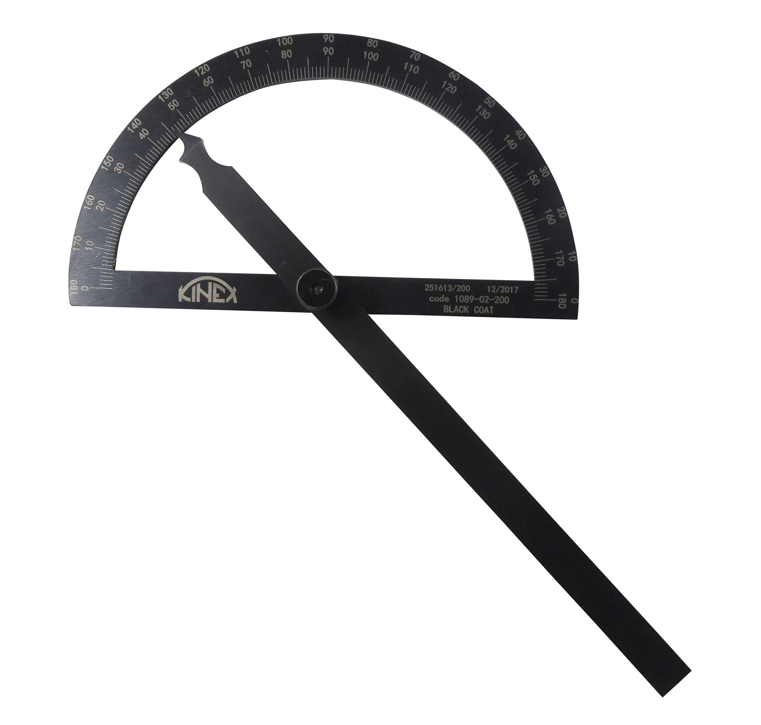 Kinex 1089-02-200 7-1/4'' (200 mm) Gun Metal Finish Black Machinist Protractor Angle Finder