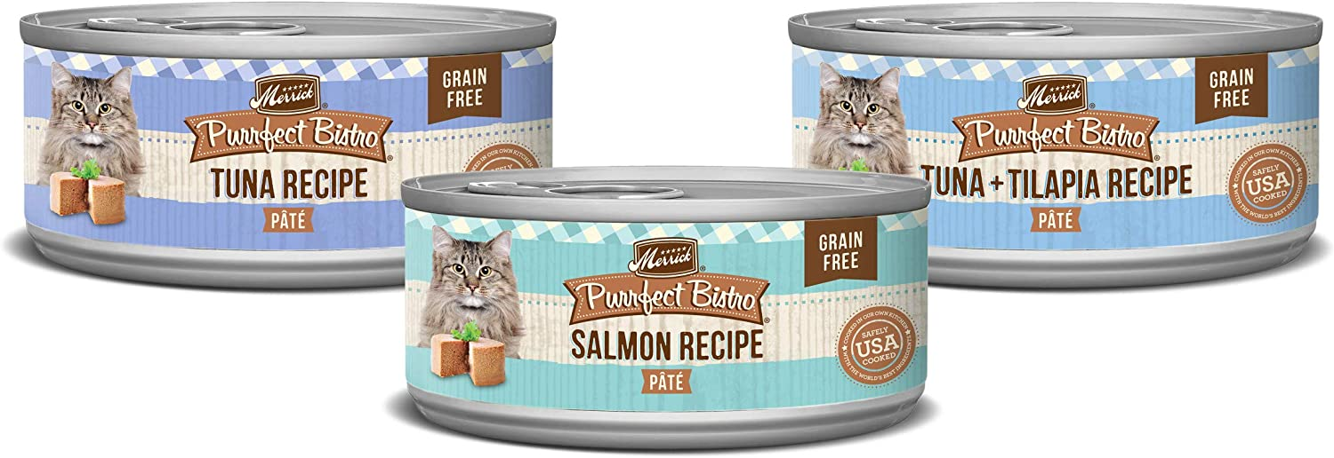 Merrick Purrfect Bistro Grain Free Wet Cat Food Variety Pack Seafood Favorites - (24) 3 oz. Cans