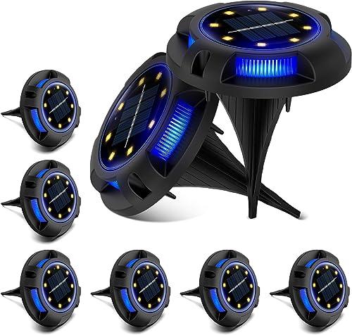 ZONGOOL Solar Ground Lights, 8 LED Disk Lights Solar Powered Waterproof In-Ground Lights for Garden, Lawn, Pathway, Walkway, Deck, Yard 8 Packs, Warm Blue