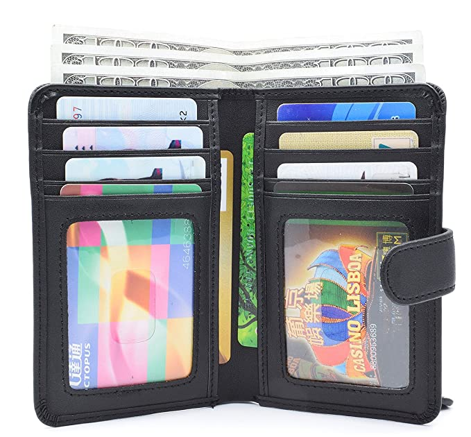 bb3a253d71fa OBRAVE Small Womens RFID Leather Wallet Bifold, Ladies Mini Wallets with  Zipper Coin Pocket, 2 ID Window