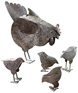VERDUGO GIFT 31170 Mother Hen & Chicks Country Garden Sculpture Set