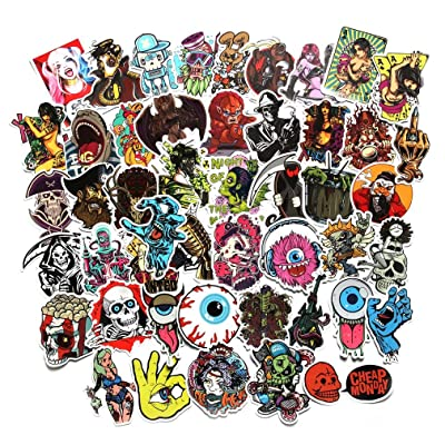 Horror Stickers Pack 100 Pcs Vinyl Creepy Skull Crazy Stickers and Decals Pack for Water Bottle Laptop Luggage Bicycle Motorcycle Computer Skateboard (100pcs): Arts, Crafts & Sewing