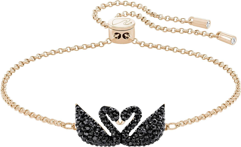 Bracelet Swarovski Iconic Swan, cristal noir, métal doré rose, pour femme