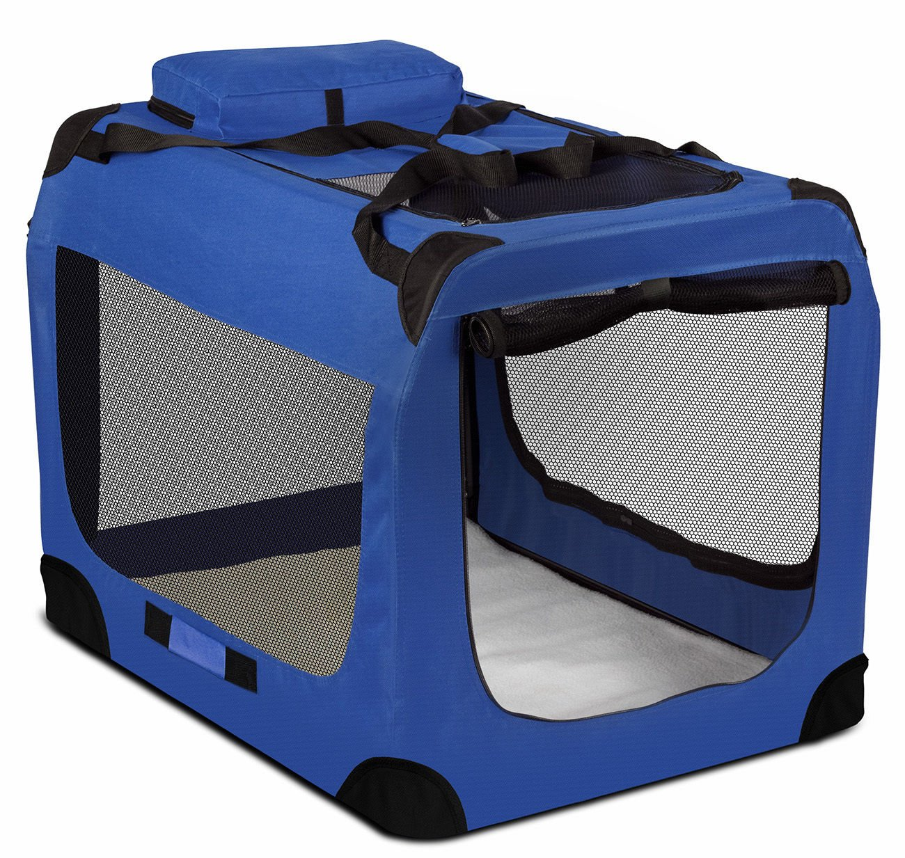 "Blue Portable Dog Crate Pet Carrier Foldable Kennel Soft Sided Cage 40""x27''x28'' Size 3XL"