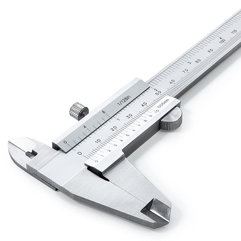 Vernier Pied à coulisse 150mm en acier inoxydable (renforcé)–Haute précision Analogique après DIN862–QUALITÉ SUPÉRIEURE avec mesure en profondeur, intérieur et ext&e