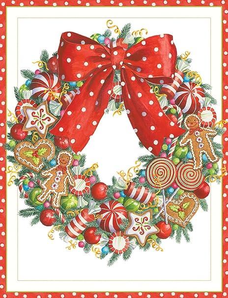 Caspari Christmas Cards.Entertaining With Caspari Candy Wreath Christmas Cards Box Of 16