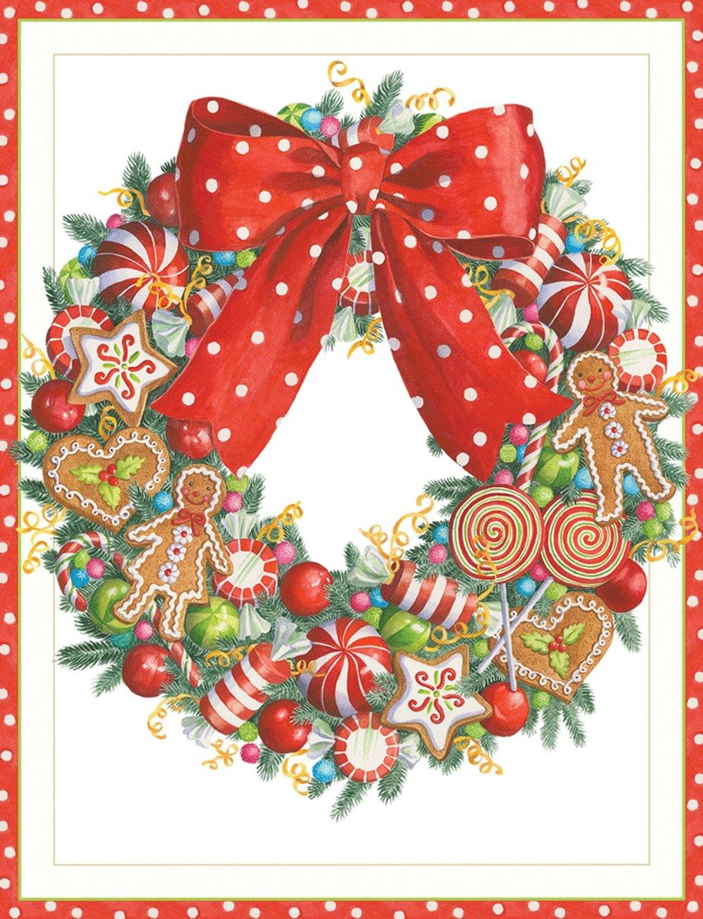 Entertaining with Caspari Candy Wreath Christmas Cards, Box of 16