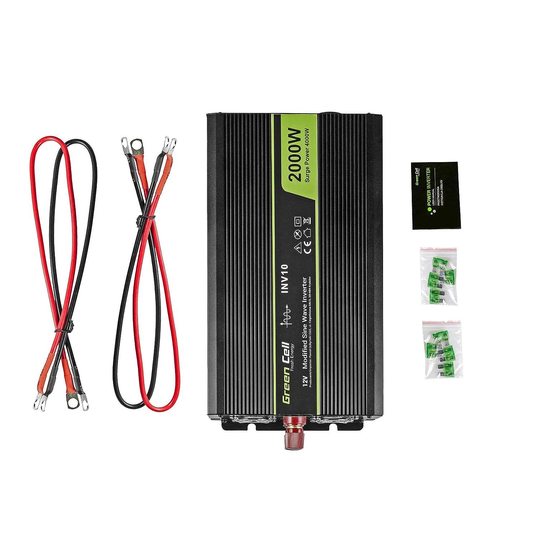 Trasformatore sinusoidale modificata per Auto Porta USB per Batteria Auto Green Cell/® 300W Inverter Invertitore Onda Pura di Tensione DC 12V AC 230V per Camper Auto Convertitore di Potenza