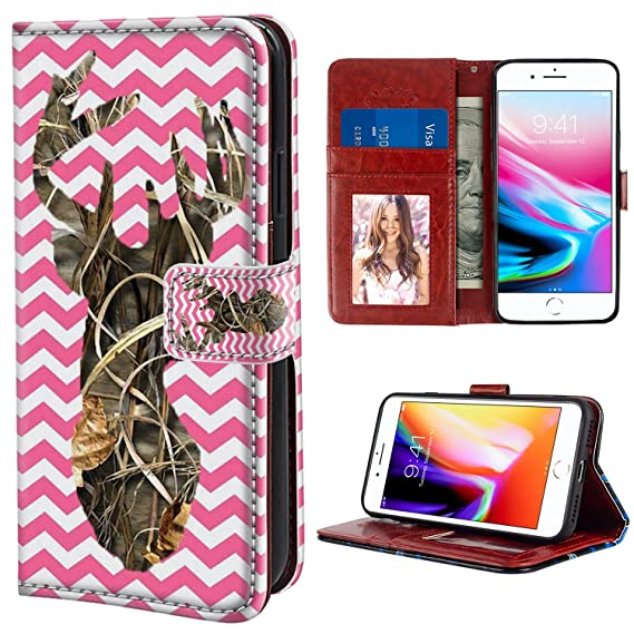 new concept f4fa8 6bddf YaoLang iPhone 7/8 Plus Wallet Case, Pink Camo Deer PU Leather Standable  Wallet Phone Case with Card Holder Magnetic Hold for iPhone 7/8 Plus