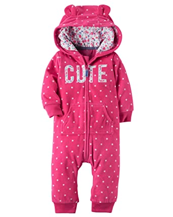 92d959e4b05b Amazon.com  Carter s Baby Girls  Hooded Fleece Jumpsuit  Clothing
