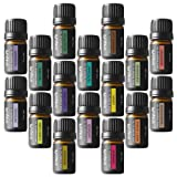 Onepure Aromatherapy Essential Oils Gift Set, 16 Bottles/ 5ml each, 100% Pure ( Ylang Eucalyptus Lemon Peppermint Lavender Lemongrass Clary Sage Rosemary and More)