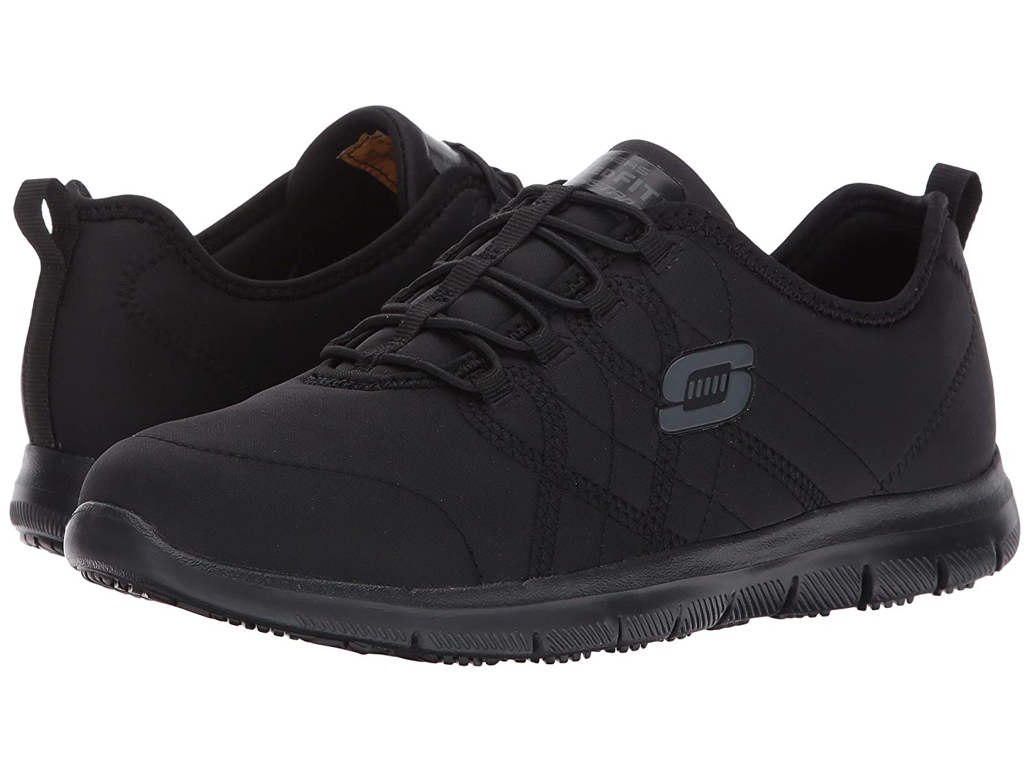 (スケッチャーズ) SKECHERS レディースワークシューズナースシューズ靴 Dighton Bricelyn [並行輸入品] B07FRZWPSY 7 (24cm) B Medium|Black Synthetic/Leather Black Synthetic/Leather 7 (24cm) B Medium