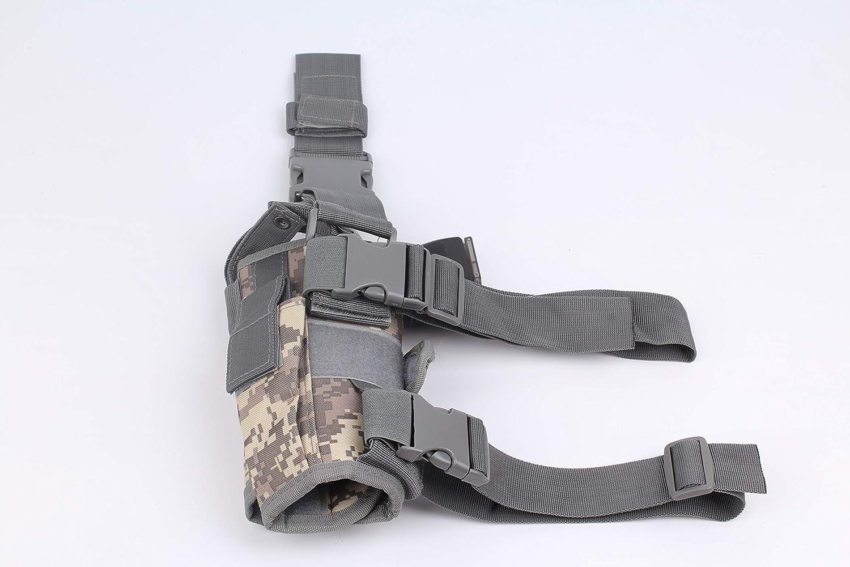 NO LOGO Lixia-Gun, Ajustable Pierna Derecha Derecha táctica ejército Pistola Pistola Muslo Airsoft Pistola Funda Funda for Glock 17 Glock 18 (Color : ACU Holster)