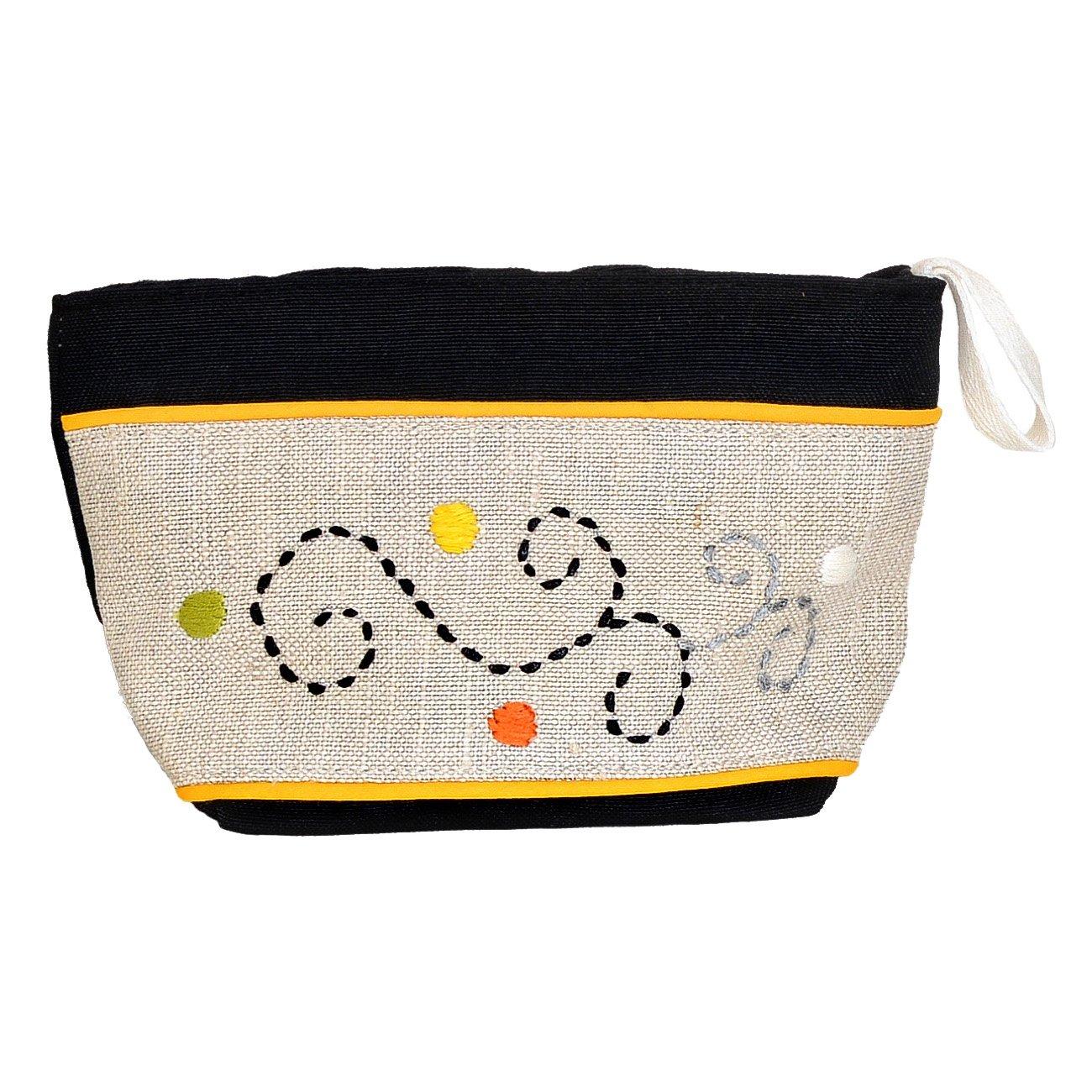 Madaraff Hand Embroidered Cotton Vanity Cosmetics Bag Large - Black