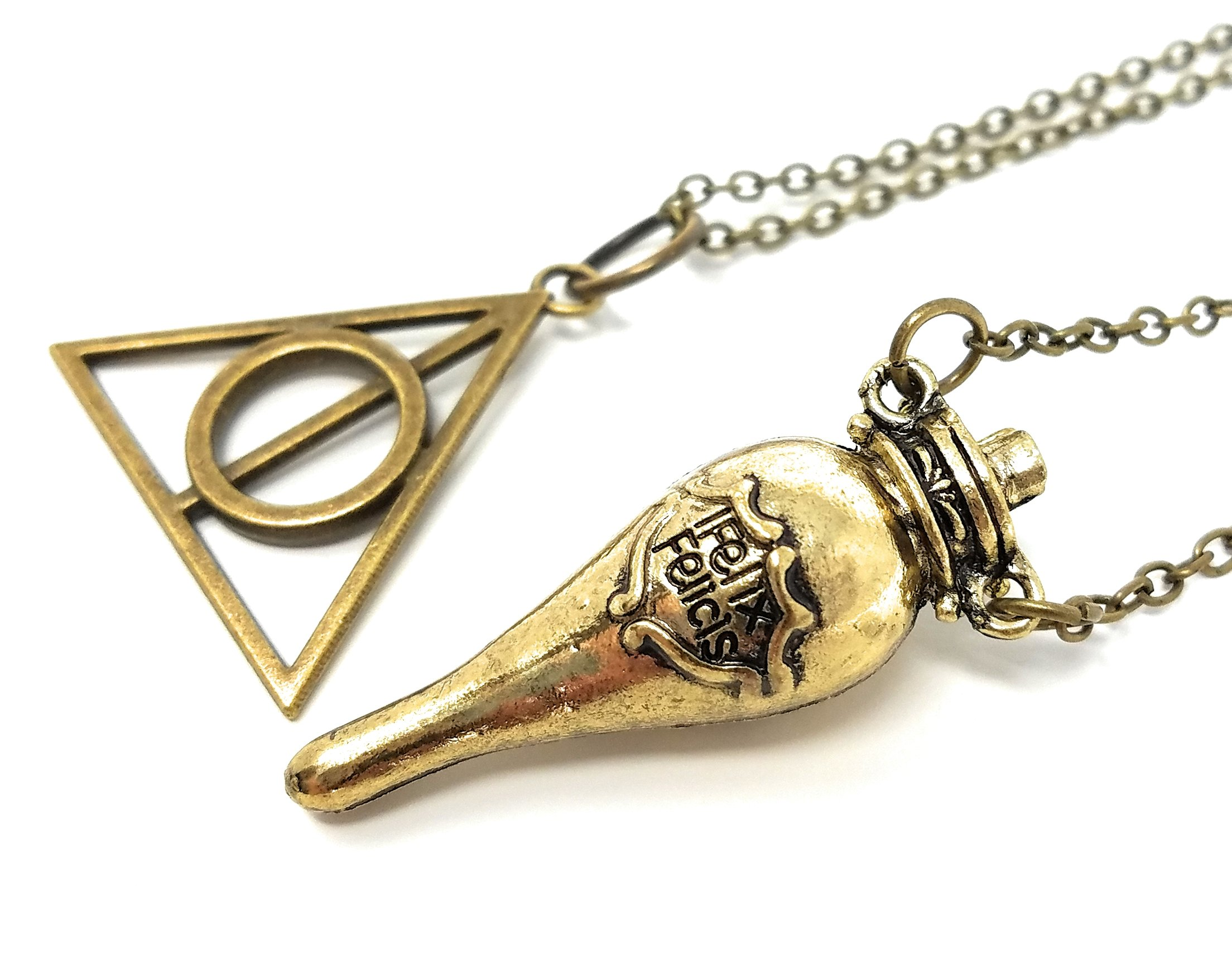 Wicked Witchery Harry Potter Liquid Luck/Felix Felicis Bottle and Deathly Hallows Necklace Set